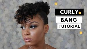curly hair in high bun with bang curly bang and top knot tutorial natural hair youtube