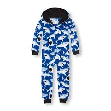 boys sleeve shark print hooded one sleeper the
