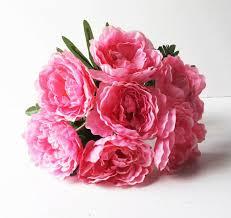 Artificial Peonies Silk Peonies Bouquet Soft Pink Green Artificial Silk Peony