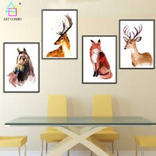 fox home decor animals canvas painting horse fox deer artwork wall hanging
