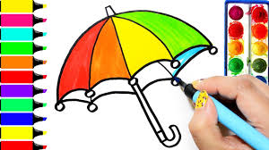 rainbow umbrella coloring page learn colors for girls and kids