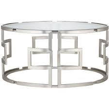 Chrome And Glass Coffee Table Universal Lighting And Decor Geometric Silver Glass Coffee T