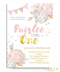 1st birthday girl floral birthday invitation for a girl