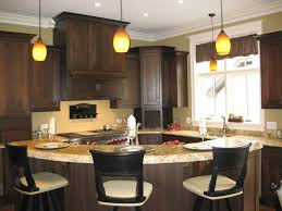Mini Pendant Lighting For Kitchen Island Curvy Dark Brown Wooden Kitchen Cabinets And Island With Marble