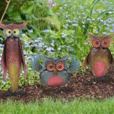 sunjoy whimsical 3 owl garden statue set reviews wayfair