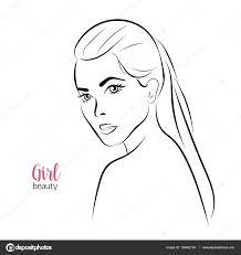 Beautiful Decoration Element Vector Portrait Of Beautiful Woman Bride Thin Line Sketch
