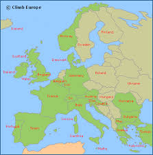 map of euroup climb europe rock climbing and bouldering holidays in europe