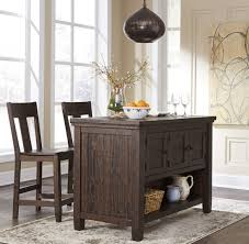 trudell dark brown rectangular storage counter height dining table
