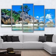tropical island paradise modular canvas hd printed pictures home decor 5 pieces tropical