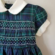 vintage girls dress in green plaid with peter pan collar and