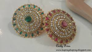 beautiful big rings images Curly fries glamorous accessories huge green gold kundan ring jpg