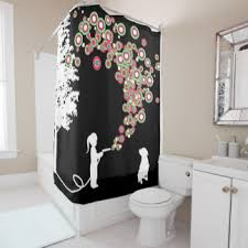 black shower curtains zazzle