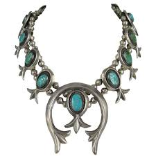 turquoise necklace silver chain images Old pawn native american sterling silver squash blossom turquoise jpg
