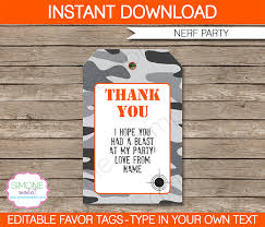 nerf party favor tags template nerf party party favor tags and