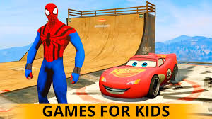 cars cartoon and spiderman race ramp for kids and children nursery