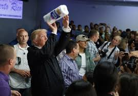 Paper Throwing Meme - these photos show trump tossing paper towels to puerto rico