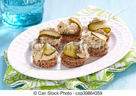 pate canapes canapes with fish pate and pickle food stock images