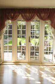 Valances For French Doors - white pattern fabric curtains with brown valance for sliding glass