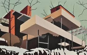 ab painting fallingwater by architect frank lloyd wright