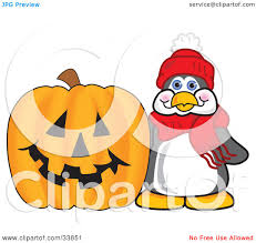 halloween pumpkin cartoons clipart illustration of a penguin mascot cartoon character by a