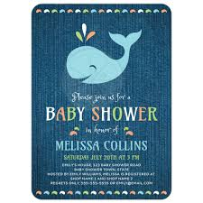 whale on blue denim cute baby shower invitation under the sea