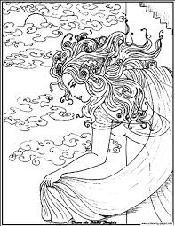 woman sea coloring pages printable
