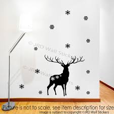 merry christmas reindeer wall sticker snowflake xmas shop wall