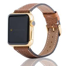 band gold leather genuine fauve band gold plated for apple