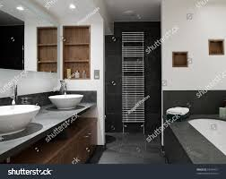 his and her bathroom interior shot luxury bathroom his hers stock photo 53454451