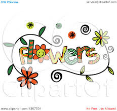 clipart of colorful sketched flowers word art royalty free
