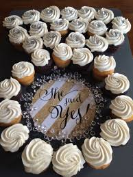 bridal cupcakes bridal shower dessert display idea she said yes cupcakes in