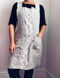summer kitchen apron 100 linen in white spangle design u2013 alpha libra