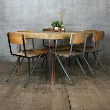 hairpin leg vintage industrial dining table 190 x 90cm mustard