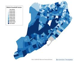 New York Boroughs Map by New York City Income Maps Business Insider