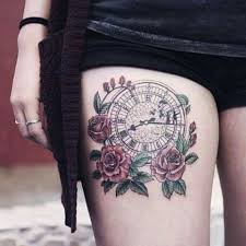 picture of clock tattoo idea on the thigh