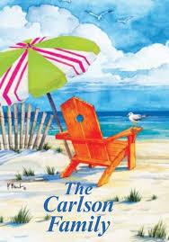 Chairs On A Beach Beach Chair Garden Flag Shows A Serene Beach Scene With An