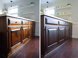 How To Remove Stain From Wood Cabinets Using Polyshades To Darken Our Wood Cabinets Young House Love