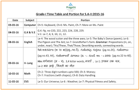 pragathi central grade 1 time table and portion of