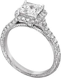 engraved engagement rings images Flyerfit halo pave diamond engagement ring with hand engraving png