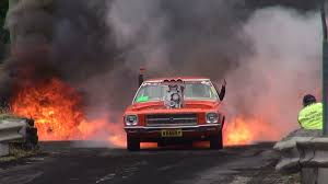 holden muscle car blown v8 holden hq kranky catches fire in the burnout finals