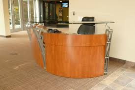 Reception Desk Glass Metal Glass Cherry Laminate Reception Furniture Custom