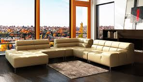 Leather Sofa In Living Room by Living Room Dazzling Corner Black Leather Sofa Design With Cream