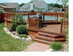 Wrap Around Deck Plans Wraparound Deck With Gate And Nice Landscaping Above Ground Pool