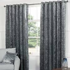 Steel Grey Curtains Thick Plush Crushed Silver Grey Steel Velvet Eyelet Lined Curtains
