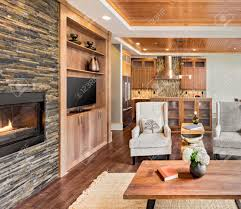 interior of luxury homes living room interior in luxury home with wood ceiling