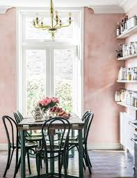 pink venetian plaster walls in a country kitchen by jersey ice