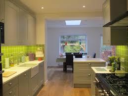 kitchen diner grey kitchen bright green tiles home ideas