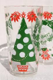 christmas glasses print vintage glass tumblers for the holidays merry christmas