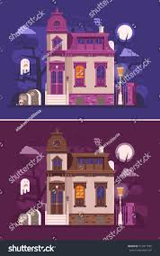 abstract old haunted house scene victorian stock vector 712911550