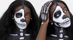 unzipped half skeleton halloween makeup tutorial youtube